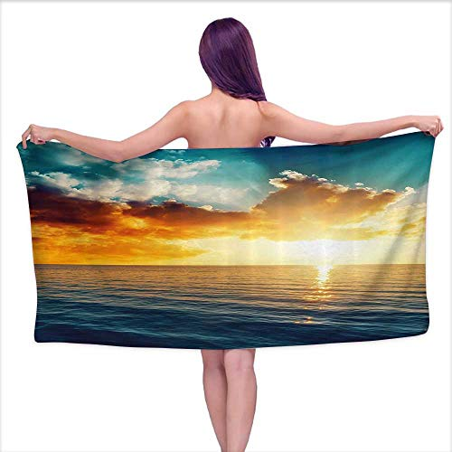 (Glifporia Bath Towels Egyptian Cotton Ocean,Majestic Sunset Over The Sea Scenic Idyllic Aquatic View Morning Picture,Turquoise Orange Blue,W28 xL55 for bathrooms, Beaches,)