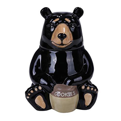 PT Black Bear Glossy Ceramic Cookie Storage Jar