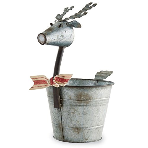 Mud Pie Galvanized Tin Reindeer Planter