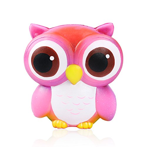 TOPofly Slow Rising Squishies Toys Scented Squeeze watermelon Stress Relief Toys (Pink Owl)