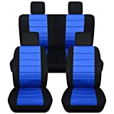 2007-2010 Jeep Wrangler JK Seat Covers: Black & Blue - Full Set: Front & Rear (23 Colors) 2008 2009 2-Door/4-Door Complete Back Solid/Split Bench