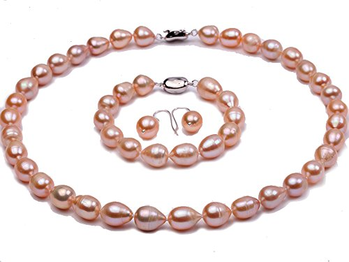 Oval Freshwater Cultured Pearl Bracelet (JYX Oval 9-10mm Pink Freshwater Pearl Necklace Bracelet and Earrings Set Jewelry Set)