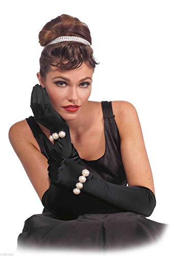 Forum Novelties Vintage Hollywood Long Gloves with Pearls, Black, One Size]()