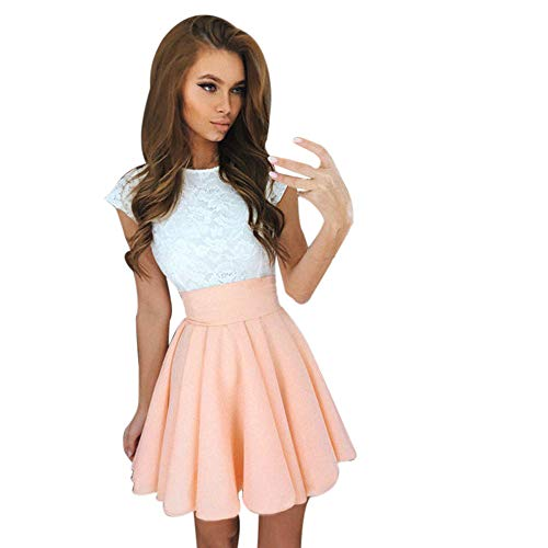 Hunauoo Mini Cocktail Dress Women Elegant Cute Lace Short Sleeve Skater Dresses Party Dress Khaki
