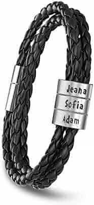Personalized Mens Black Braid Leather Bracelets with 2-5 Names Engraved in Custom Beads Custom ID Bracelet for Men