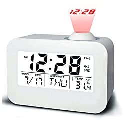 RABILTY Projection Alarm Clock Talking Clock Ceiling Light Clocks Battery Backup Time Alarm Desk Clock Auto Time/Temperature/Date/Day Display (Color : White)