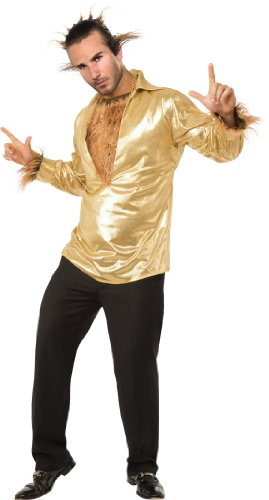 Rubie's Heroes and Hombres Disco Wolf Shirt With Hairy Chest, Gold, X-Large Costume -