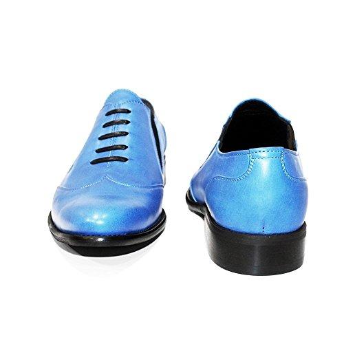 PeppeShoes Modello Blukko - Handmade Italiano da Uomo in Pelle Blu Mocassini e Slip-On - Vacchetta Pelle Morbido - Scivolare su