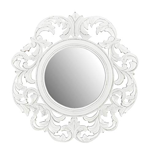 Fetco Home Décor Coley White Carved Mirror Distressed (White Mirror Distressed)