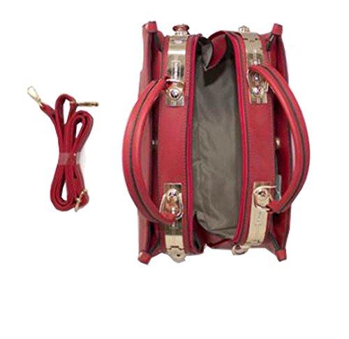 motif Rouge Kaki Poignée le rayure Large pour DIVA sur haut femmes sac haute aqOw74xta