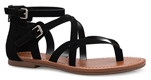 COLIVIA K Women's Strappy Gladiator Flat Sandals- Casual Dress Low Flat Heel- Adjustable, Comfort by OLIVIA K
