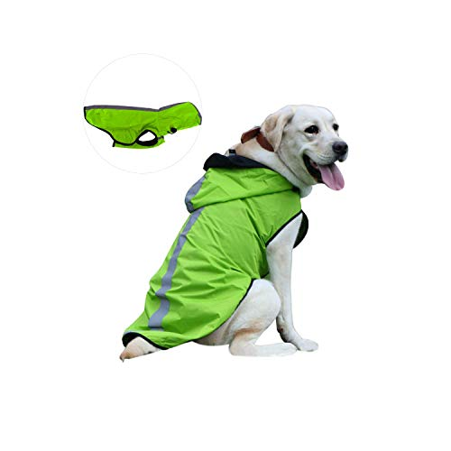Kamots Beauty Dog Waterproof Raincoat, Lightweight Packable Jacket with Reflective Stripes for High Visibility Safety- Adjustable Hood Poncho for Small Medium Large Dogs (XXL-Green)