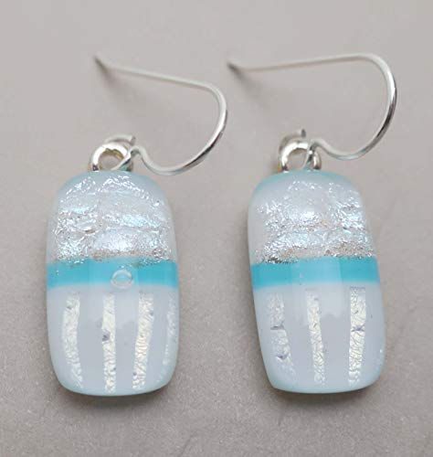 Silver white aqua modern fused dichroic glass dangle earrings Sterling silver ear wires #165 ()
