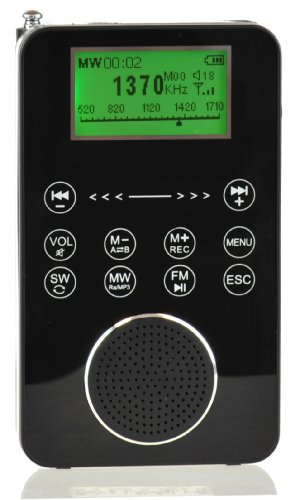 Touch Screen Controlled Portable AM/FM/SW Digital Radio, MP3 Player with Built-in 4GB Flash Memory and Micro-SD Card Reader, Voice Recorder & E-book Reader (Slide Volume Control Knob)