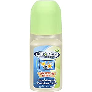 Naturally Fresh Roll On Deodorant Crystal Tropical Breeze - 3 oz - Eliminate odor causing bacteria - 24 hour non-staining protection