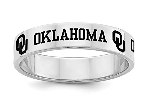 Oklahoma Sooners Ring | Sterling Silver | 5mm Wide Band (7) (Silver Sterling Oklahoma Ring Sooners)
