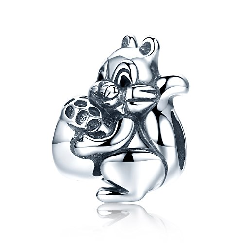 WOSTU Lovely Animal Charms Jewelry 925 Sterling Silver Squirrel Beads Charms for Charm ()