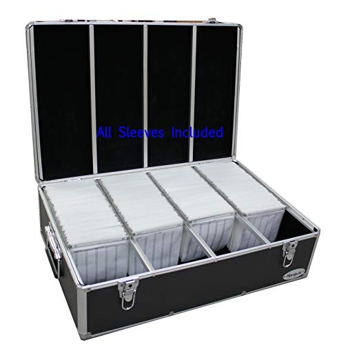 - 1000 Cd DVD Black Aluminum Hard Case for Media Storage Holder w/Hanger Sleeves