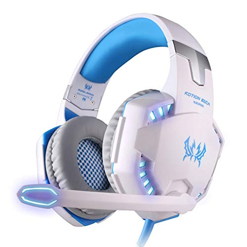 KNOSSOS Kotion Each Gaming Headset Stereo Gaming Noise-Cancelling Wired Gaming Headset - bianca blu