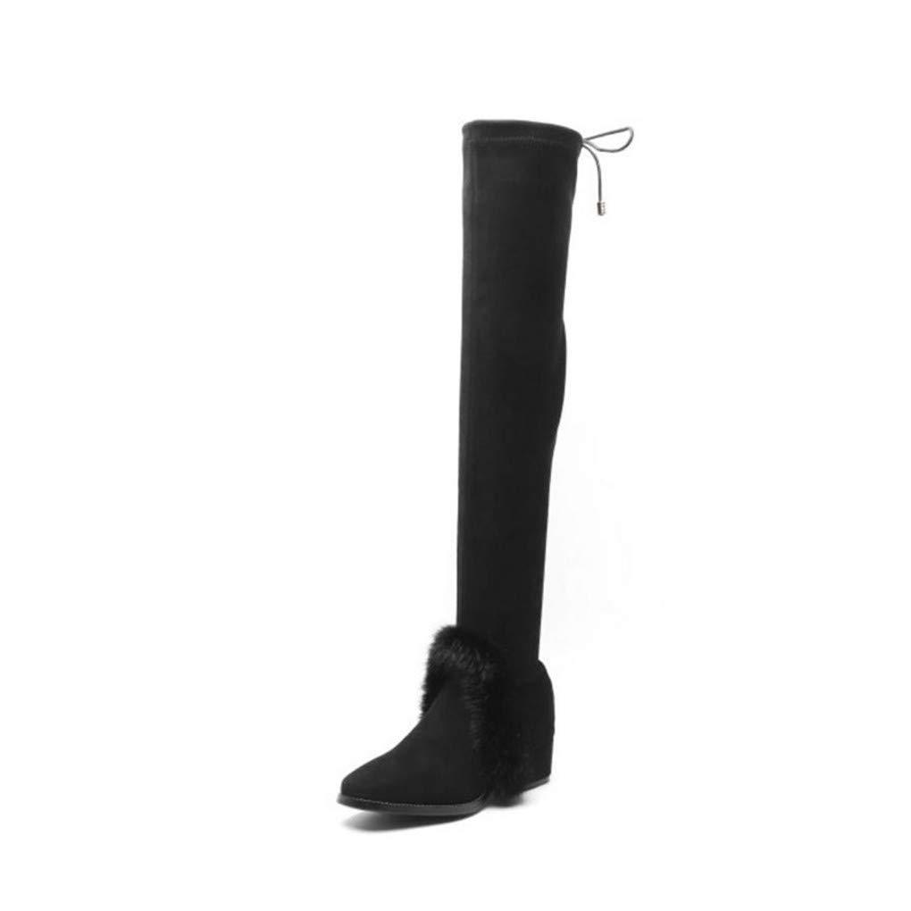 HAOLIEQUAN Frauen High High High Heel Stiefel Bowknot Warme Schuhe Frauen Winter Über Knie Stiefel Mode Schuhe   Größe 33-44  0a16b9
