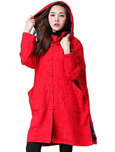 Quilted Frog (Minibee Women's Loose Button Hoodie Coat Long Quilted Trench Jacket Chinese Traditional Frog with Pockets Red 2XL)