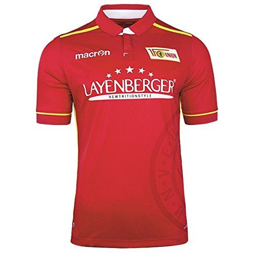 1. FC UNION BERLIN® Offizielles Original Macron Heimtrikot · UNISEX Authentic Fan-Trikot Home Saison 2016/17 (rot-gelb, L)