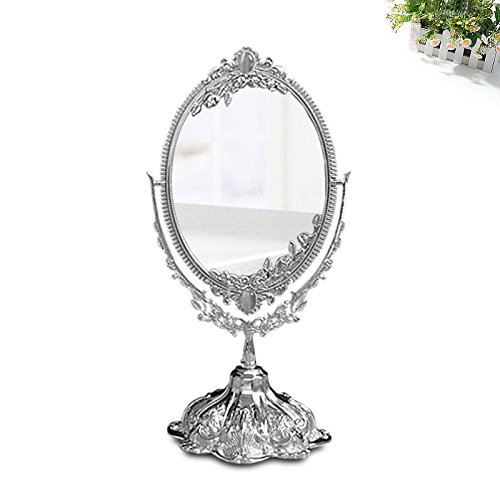 KINGFOM Silver Two Sided Swivel Oval Desktop Vanity Makeup Mirror with Embossed Roses and Mounted Beads for Home, Jewelry or Watches Cosmetics Showcase (Silvery ,Small)