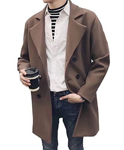 Huixin Men's Sailor Jacket Pea Coat Lapel Color Solid Long Apparel Sleeve Wool Blend Coat Mariner Jacket Peacoat Outerwear Fall Winter Kaffee