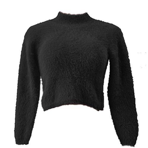 Jumper Rond Col Sweatshirt Mohair Longue Noir Tops Mini YouPuer Pull Pullover Femmes Sexy Manche Courtes 0vxw8Cq