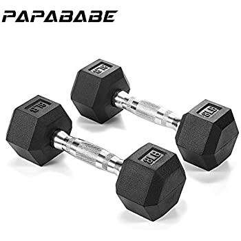Single papababe Dumbbells Free Weights Dumbbells Weight Set Rubber Coated cast Iron Hex Black Dumbbell Pair