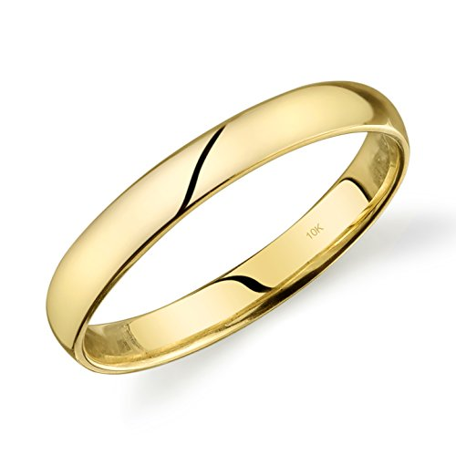 10k Yellow Gold Light Comfort Fit 3mm Wedding Band Size 10 ()