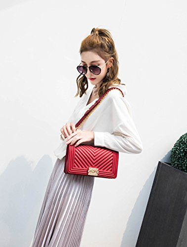 Crossbody Jelly Shoulder with Chain Red Clutch OYIGE Quilted Handbag Women Fashion Bag Bag O6nqI8v