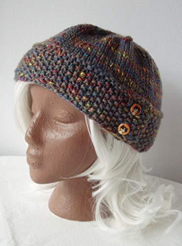 Grey Rainbow Handknit Hat Cat Button Tab Knit Cap Size - Animal Oversize Headcover