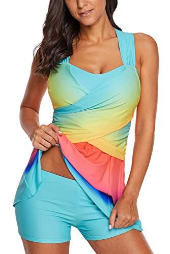 - Aranmei Womens Swim Dress Rainbow Color Block Tankini Swimwear with Shorts Swimsuit Set(Light Blue Medium)