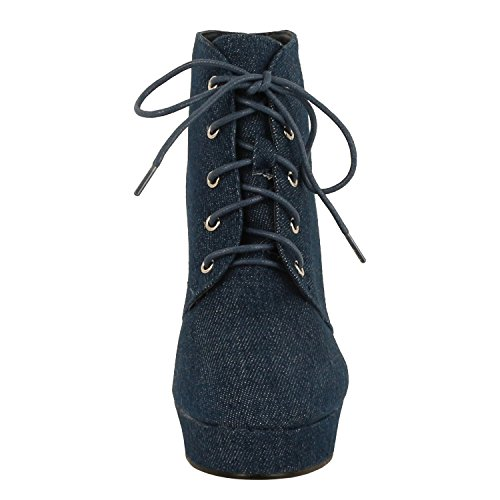 Forever Camille-86 Frauen Komfort Stapeln Chunky Heel Lace Up Ankle Booties Blauer Jeansstoff