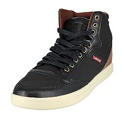 Levis Men's Wesley Hi UL Perf. Fashion Sneaker, Black/Tan, 10.5 M US