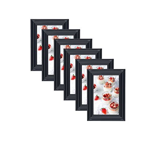 Elegant Beaded Black Border Picture Frames 4x6 (6 pc) Display with Photo Glass Front, Easel Back, Hanging Clip (Set of 6, 4x6) - Vintage Photo Borders