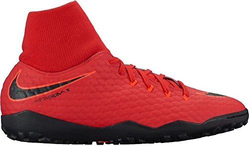 NIKE Men's Hypervenom Phelon III Dynamic Fit TF Turf Soccer Cleats (SZ. 7) Red, Bright Crimson