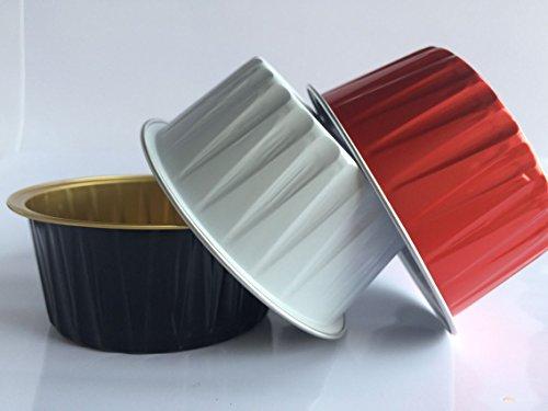 "KEISEN 3 2/5"" 125ml 100/PK 4OZ Disposable Aluminum Foil Cups for Muffin Cupcake Baking Bake Utility Ramekin Cup (white black red 3 colours)"