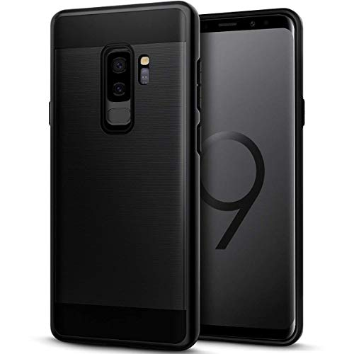 Galaxy S9 Plus Case, Casgen Brushed Metal Design [Flexible & Slim] Heavy Duty Protection Dual Layer Armor Cover,Anti Slip [Shock Absorption] Case for Samsung Galaxy S9 Plus-Black
