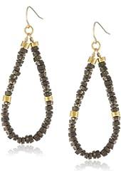 Mickey Lynn Jewelry Gemstone Heishi with Gold Accent Hoop Earrings