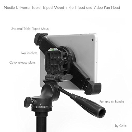 """Grifiti Nootle Universal iPad and Tablet Video Pan Head Tripod, Mount, and Case Adjustable for iPad mini, iPad Air, iPad 1,2,3,4, Samsung Galaxy, Sony, Microsoft Surface, Google Nexus and all 7"""" to 11"""" Tablets with or without cases 1/4-20 Connector fo"""