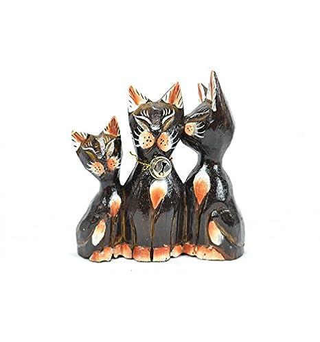 Figura 3 gatos besos (madera H13 cm