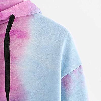 Crop Hoodie, Mitiy Women Teen Girls Fashion Tie-Dye Hoodie Sweatshirt Crop Tops Long Sleeve Pullover Shirts: Clothing