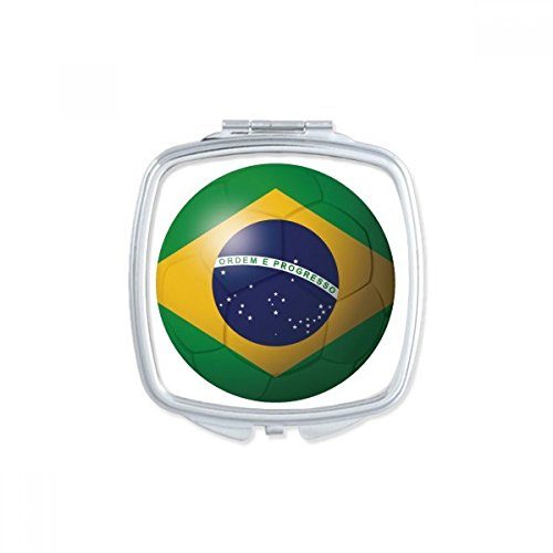 DIYthinker Brazil National Flag Soccer Football Square Compact Makeup Mirror Portable Cute Hand Pocket Mirrors Gift by DIYthinker
