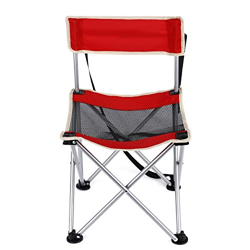 OUTAD Camping Chair, Folding Picnic Chair with Back Rest, Weight Support: 300 Pounds (Red)