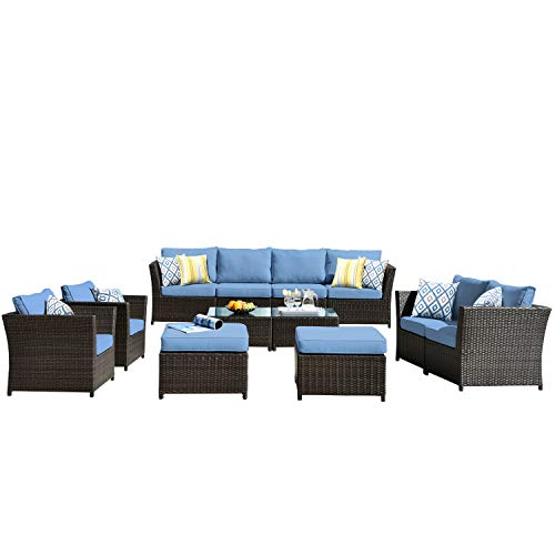 ovios Patio Furniture Set, Backyard Sofa Outdoor Furniture,PE Rattan Wicker sectional with Pillows and Coffee Table, No Assembly Required Blue 2