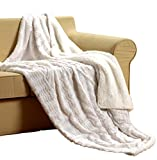Tache White Ivory Super Soft Warm Polar Faux Fur with Sherpa Throw Blanket 63 x 87