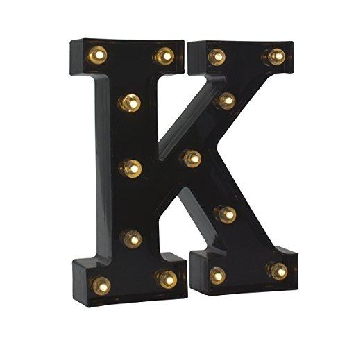 Light up Letters LED Letter Black Alphabet Letter Night Lights for Home Bar Festival Birthday Party Wedding Decorative (Black Letter K)