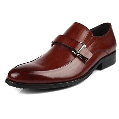 Hombres Oxford Cuero Zapatos Ponerse Hebilla Formal Boda Negocio Inteligente para los hombres Negro marrón Oficina Trabajo Fiesta Brown